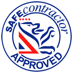 Safe Contractor Blue Red Logo